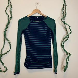 Lululemon Green and Navy Striped Ruffle Top